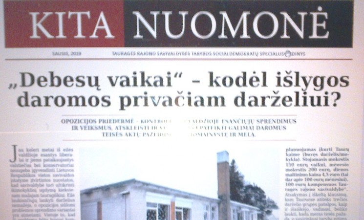 """Tauragės socialdemokratų frakcijos laikraštis """"Kita nuomonė"""" Nr.4"""